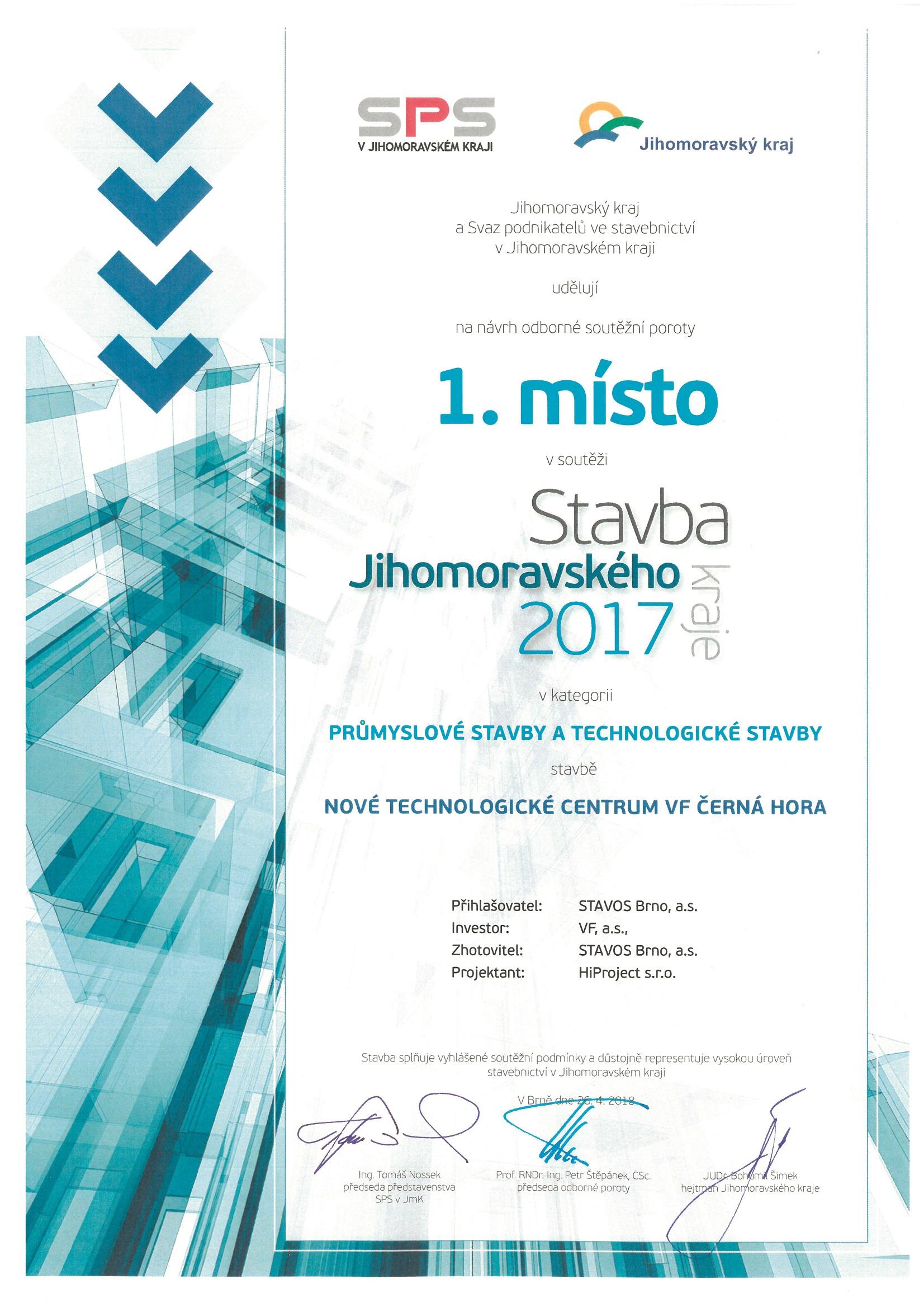STAVBA JMK 2017 - 1. místo